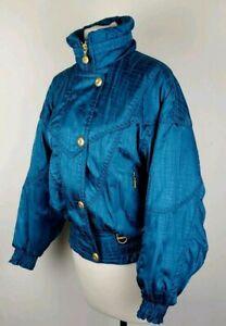Vintage Retro Women's Descente Green Blue Teal Gold Ski Jacket Hooded Sz 4