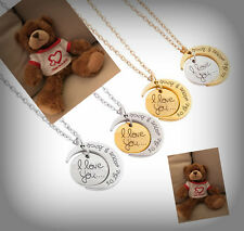 """NEW TEDDY BEAR 8""""& Love You to the Moon And Back necklace VALENTINES DAY GIFT"""