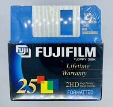 "Fuji Fujifilm Floppy Disk 2HD IBM 3.5"" Color Formatted Disks 25-Pack Sealed New"
