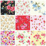 ROSES FLORAL FABRIC 100% COTTON POPLIN FAT QUARTERS METRES SHABBY CHIC