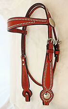 New Billy Cook Leather Wide Browband Headstall Spotted Horse Conchos Tack CHN