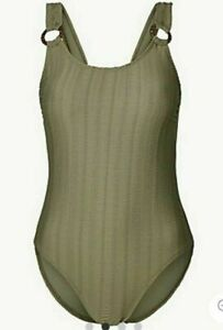 Lovely BNWT M&S tummy control khaki textured scoop neck swimsuits 8 12