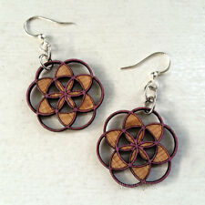 Seed of Life Laser-Cut Wood Earrings by Green Tree Jewelry COMBINED SHIPPING