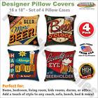 Set of 4 Pillow Covers 18x18, Man Cave Happy Hour Bar Décor Linen Fabric 45x45cm