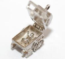 Vintage Sterling Silver Bracelet Charm Opening Baby Carriage Pram (2.7g)