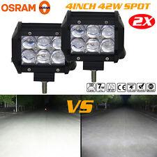 5D 2X 4inch 42W OSRAM Led Light Bar SPOT Work Light 4WD Off-road Driving Lamp US