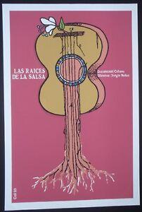 ROOTS OF SALSA / Cuban Silkscreen Movie Poster / CUBA ART MUSIC DANCE / GUITAR