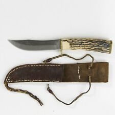 """VINTAGE SCHRADE 497  4-1/2"""" BLADE HUNTING KNIFE with leather Sheath"""