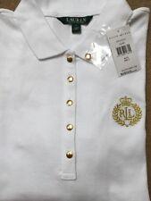 **NEW Ralph Lauren Golden LRL Crest Polo Shirt 3/4 Sleeves Women White Size L