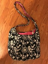 THIRTY-ONE BLACK WITH WHITE FLOWERS SHOULDER BAG ADJUSTABLE STRAP