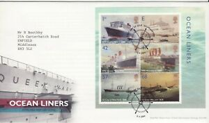GB Stamps First Day Cover Ocean Liners MS, Queen Mary etc SHS Ships Wheel 2004