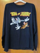 Men's TOM AND JERRY~Navy Blue Long Sleeve tee shirt~Size LARGE~NEW w/tags