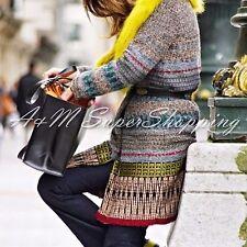 Zara Etnico Jacquard Di Lana Cappotto Giacca Multicolore Piccolo S 8 UK 36 EU 4 US