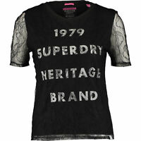 SUPERDRY Women's Black Lace Graphic Tee / Top, size S / UK 10