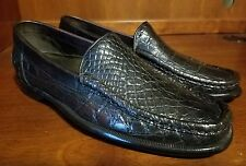 Men Bragano Brown Genuine Crocodile Driving Shoes Size 8.5 M **Crafted in ITALY