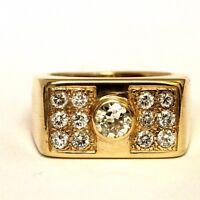 14k yellow gold 1.29ct SI2/VS H mens diamond cluster ring 17.3g gents