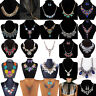 Fashion Women Rhinestone Crystal Pendant Choker Statement Chain Bib Necklace