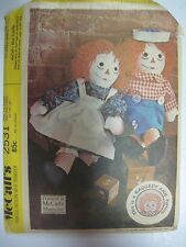 Vintage McCall's 2531 RAGGEDY ANN & ANDY STUFFED DOLLS Sewing Pattern 15-20-25""