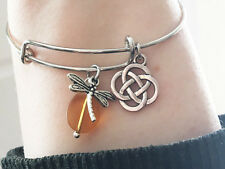 Outlander Dragonfly Amber Celtic Knot Charm Wire Bangle Bracelet Scottish Irish