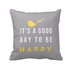 EP_ Home Decoration Yellow A Good Day Happy Bird Pillow Case Cushion Cover Divin