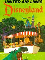 Anaheim Disneyland United Airlines Jungle Vintage Travel Advertisement Poster