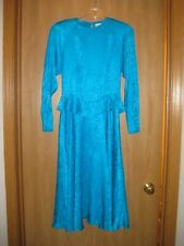 Argenti Silk Dress Size 6 Vintage Turquoise EUC