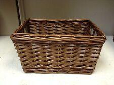 LARGE Woven Wood Wicker storage Organization Toy Laundry Basket espresso 18x13x9