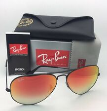 New RAY-BAN Sunglasses RB 3025 002/4W 58-14 Black Aviator w/ Red Mirror Gradient