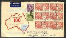 AUSTRALIA SCOTT #231, 256 & 287 STAMPS OLYMPICS FDC FIRST DAY COVER TO USA 1956