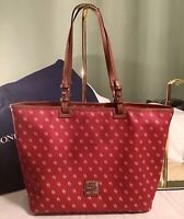 Dooney Bourke RED Gretta DB Logo & Leather Leisure Shopper Zip Tote Shoulder Bag