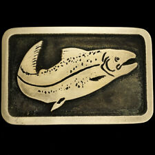 Salmon Fish Fishing Fisherman Hippie Gift Art Bronze 1970s Vintage Belt Buckle