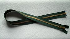 26 inch #5 Hunter Green & Brass Metal Separating YKK Zipper New!