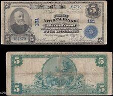 Hartford, CT - $5 1902 Plain Back Chater 121 Connecticut