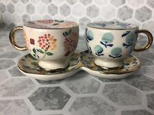 Anthropologie Aurora Salt and Pepper Shaker Tea Cups Floral Ceramic Small