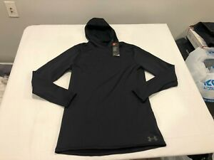 NWT $60.00 Under Armour Mens Coldgear Fitted Hoodie Black Size LARGE