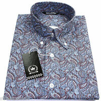 Relco Mens Air Force Blue Paisley Long Sleeved Button Down Shirt Mod Skin 60s