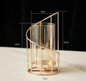Metal Candle Holder Glass Vase Gold Modern Stick Decorative Dining Table Gift