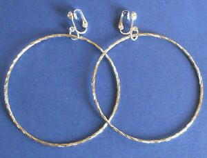 BIG  BRIGHT SILVERY CUT TEXTURED HOOPS - 70mm - CLIP ON EARRINGS (hook options)