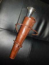 Antico SILVER PLATE Fox Hunting Horn e Custodia in pelle.