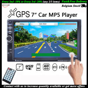 """7"""" HD 2DIN Stereo  MP5 Player Touch Car Radio Bluetooth GPS TF/AUX/FM/USB Remote"""