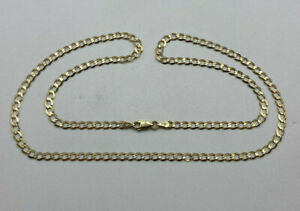 """9ct Gold Hallmarked 22"""" Plain Curb Link Chain Necklace.  Goldmine Jewellers."""