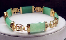New AAA Natural Light Green Jade 18KGP Fortune Luck Gemstone Bracelet
