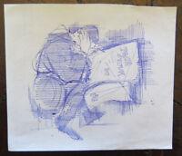 Antique Drawing Pen On Basket Man That Law Period Years 60 War Vietnam P28.5