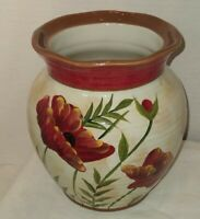 Pier 1 Poppies Large Hand Painted Earthenware Vase Utensil Crock