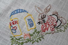 Easter Bunny Paints Egg Home & Spring Pansy! Vtg German Hand Emb Tablecloth