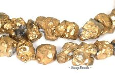GOLD NUGGET HONEY CITRINE NATURAL GEMSTONE RUGGED PEBBLE 8x6 MM LOOSE BEADS 16""