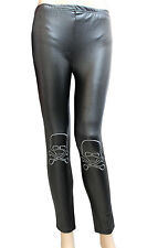 NEW LADIES BLACK WET LOOK LEGGINGS WITH EMBROIDERED CROSS BONES & SKULL (SMALL )