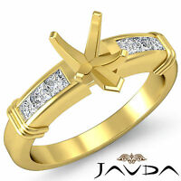 Diamond Engagement Channel Setting Ring Pear Semi Mount 18k Yellow Gold 0.4Ct