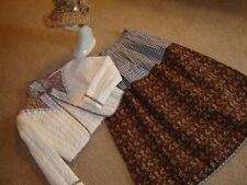 Prairie pioneer costume ivory brown calico jacket print skirt calico sun hat S