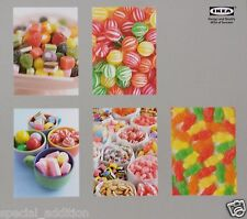 NEW IKEA MARTORP SWEETS / CANDY ART CARDS PICTURES SET OF 5